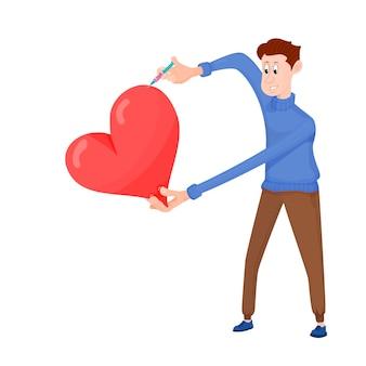 比喩-漫画のキャラクターが心に愛を注入します。
