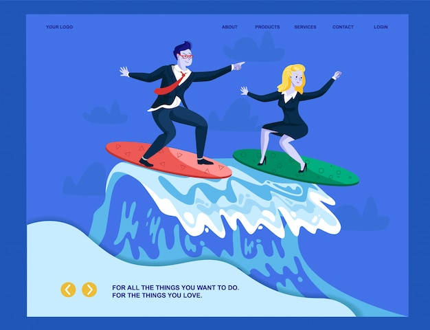 Metaphor landing page presenting business success. flat cartoon businessman and businesswoman surfing on ocean wave.