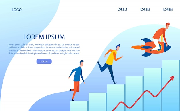 Metaphor landing page with people climb up graph