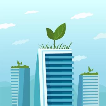Метафора фермы на крыше. зеленая эко-зона наверху небоскреба.