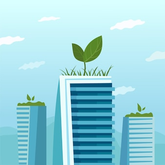 Metaphor of rooftop farm. green eco zone at the top of the skyscraper.
