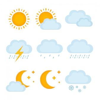 天気予報、metcastの兆候。ベクトルモダンなフラットスタイル漫画イラストアイコン。分離されました。太陽、雲、雨、雷、雪