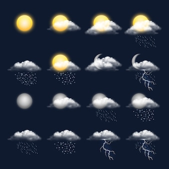 Meteo realistic icon. clouds sun rain wind snow vector weather symbols