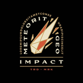 Meteor impact geometric badge t shirt tee merch logo vector icon illustration