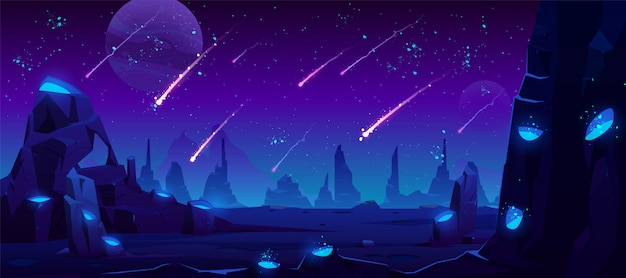 Meteor rain at night sky, neon space illustration
