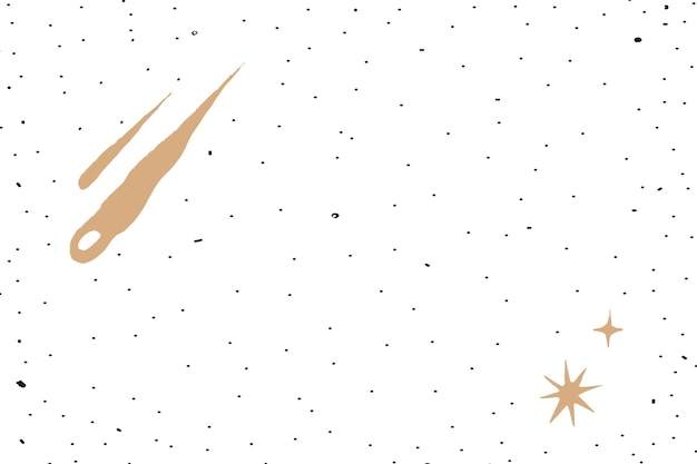 Meteor shower gold starry sky on white background