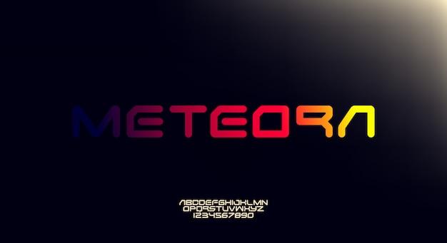 Meteora, a bold modern sporty typography alphabet font