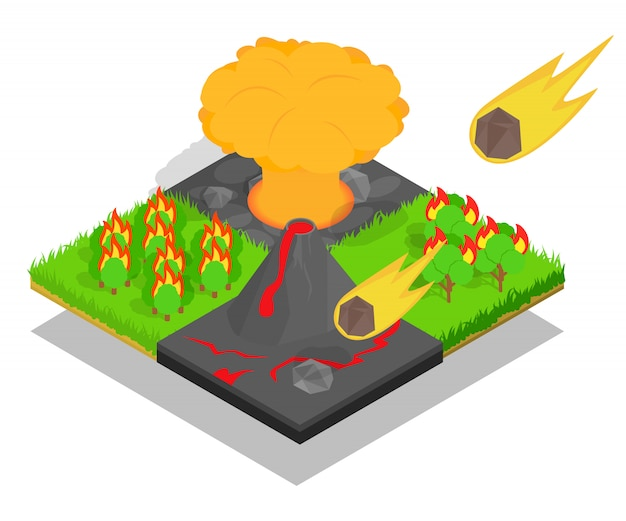 Meteorite falling concept banner, isometric style