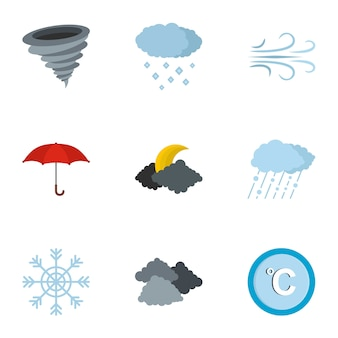 Meteorological office icon set, flat style