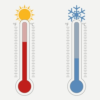 섭씨와 화씨에 대한 기상 온도계 온도 눈금