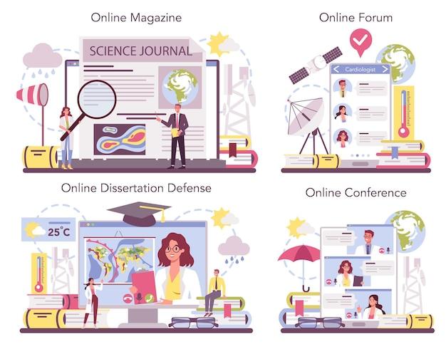 気象学者のオンラインサービスまたはプラットフォームセット