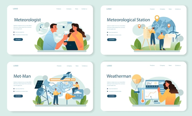 気象学者のwebバナーまたはランディングページセット。勉強している天気予報士