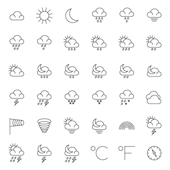 Meteorology symbols and weather thin line icons set