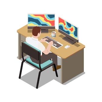 컴퓨터 그림에서 기상 데이터를 분석하는 작업자의 관점에서 기상 일기 예보 아이소메트릭 구성