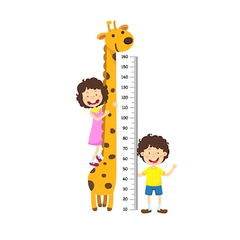 Meter wall with boy and girl. vector illustration