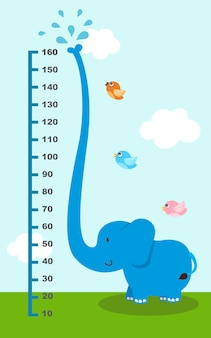 Meter wall with elephant. illustration.