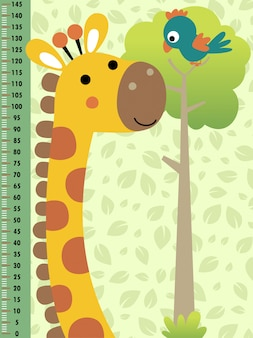 Meter wall with funny animals cartoon