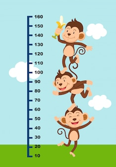 Meter wall with monkey. illustration.