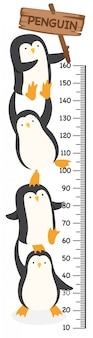 Meter wall with penguin. illustration.