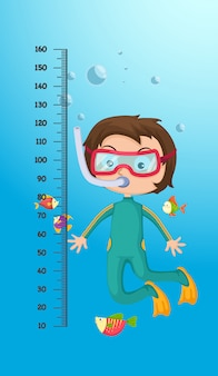 Meter wall with scuba diver. illustration