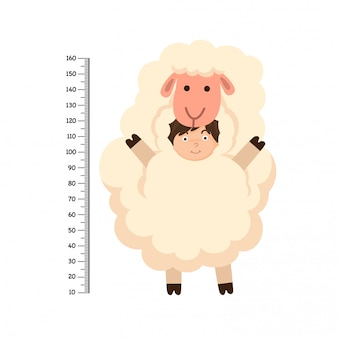 Meter wall with sheep costume