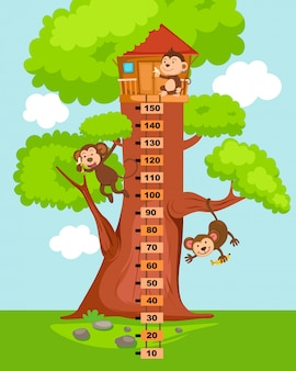 Meter wall with tree house. illustration.