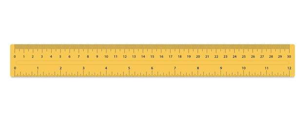 미터법 눈금자. 크기 표시 단위. 측정 도구입니다. 자 30cm. 인치와 센티미터가 있는 플라스틱 노란색 격리 눈금자