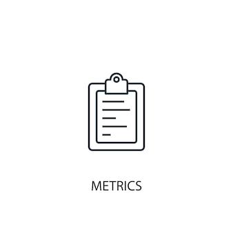 メトリックの概念線アイコン。シンプルな要素のイラスト。メトリックの概念の概要シンボルデザイン。 webおよびモバイルui / uxに使用できます