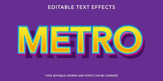 メトロ3dスタイルの編集可能なテキスト効果