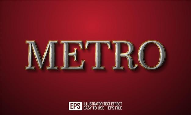메트로 3d 텍스트 편집 가능한 스타일 효과 템플릿