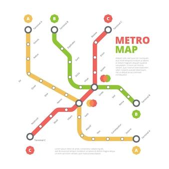 Карта метро. городская железная дорога направление транспортировки маршрута городских линий цветная схема.
