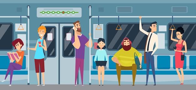 Метро пассажирский. люди в городском поезде метро читают книгу, наблюдая за смартфоном, слушают музыку вектор толпа общественного метро