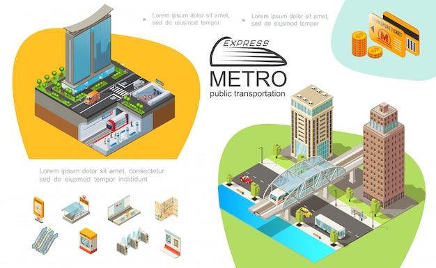 Metro public transport template with subway elements modern buildings trains ticket cards coins bridge vehicles moving on road