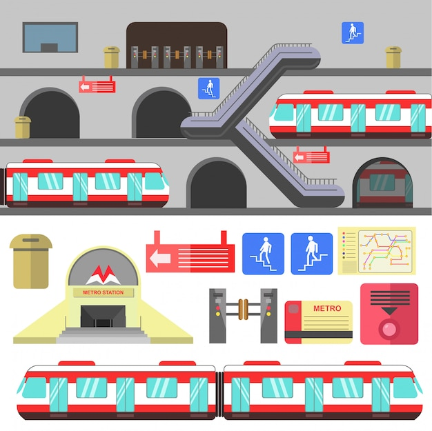 Metro rail station vector illustration.