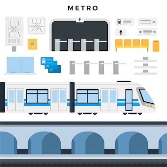 Metro station, train, map, navigation, passenger seats, turnstile, tickets. subway elements set