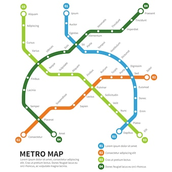 Metro, subway map illustration.