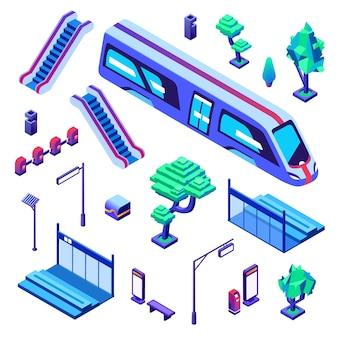 Metro train station illustration of isolated icons. Underground or subway railway