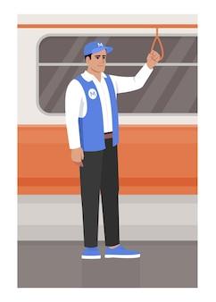 電車のセミフラットベクトルイラストに乗るメトロワーカー。路面電車内の地下鉄職員が手すりを持っています。通勤中の制服を着た男。商用利用のための地下2d漫画のキャラクター