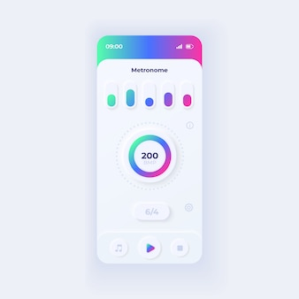 Шаблон интерфейса смартфона приложения метроном. макет светового дизайна страницы мобильного приложения. экран поддержки музыкального ритма. ui для приложения. количество ударов в минуту на дисплее телефона.