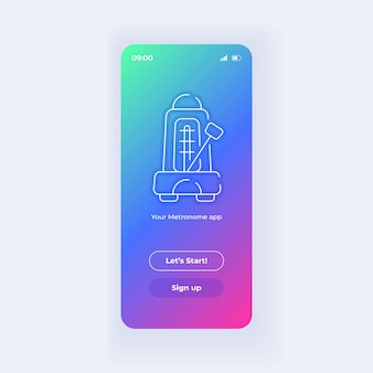 メトロノームアプリケーションスマートフォンインターフェースベクトルテンプレート。モバイルアプリページライトデザインレイアウト。ウェルカムページ、ログイン画面。アプリケーションのフラットui。電話ディスプレイの開始ボタンとサインアップボタン