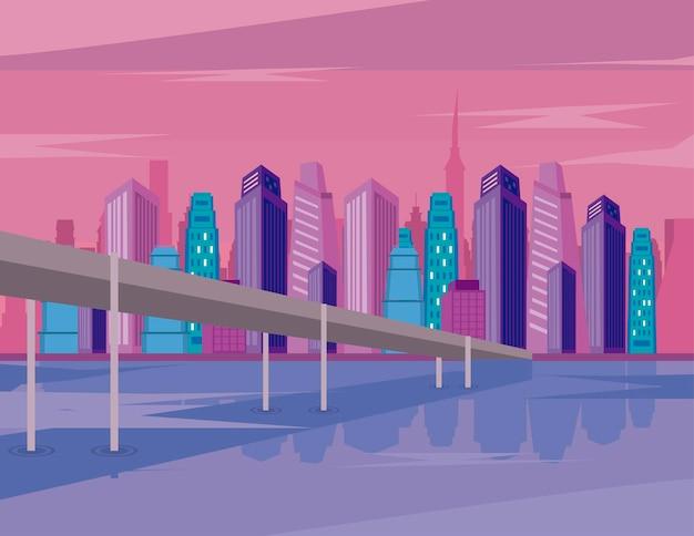 대도시 건물과 다리