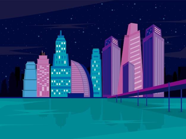 대도시 건물 밤 도시