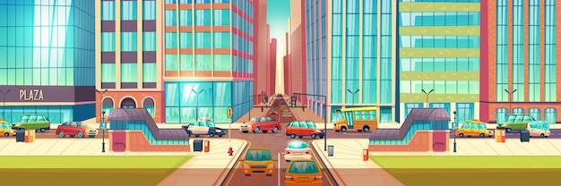 Metropolis crossroads in hour rush cartoon
