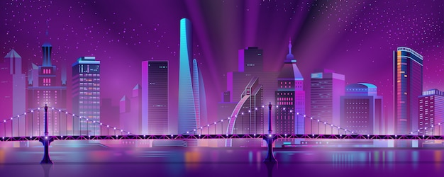 Metropolis downtown night landscape cartoon vector