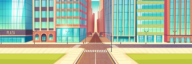 Metropolis empty street crossroads cartoon vector