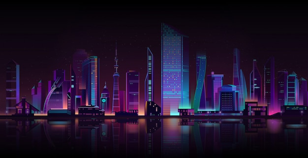 Metropolis night background neon cartoon