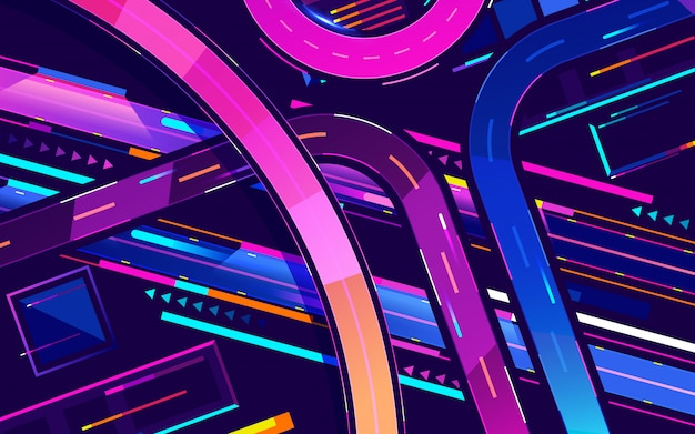 Metropolis night freeway neon colors, top view cartoon vector