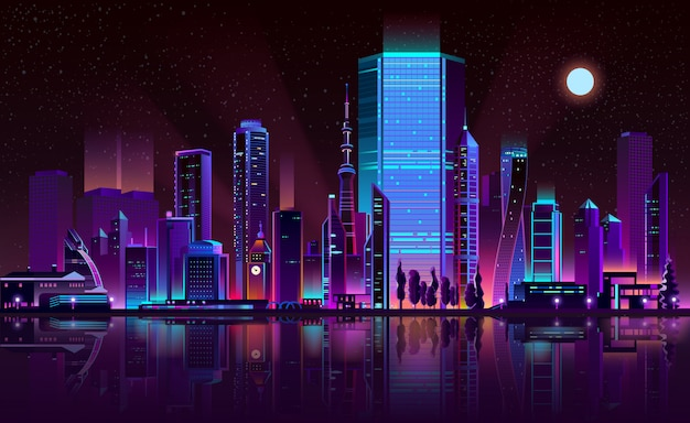 Metropolis night skyline neon color cartoon vector