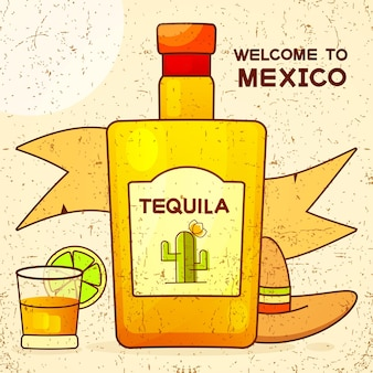 Mexican background with a fancy bottle of tequila. fancy tequila name added. template for greeting card, invitation or poster. vector file eps10.