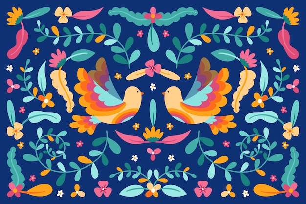 Mexican background with flowers and birds